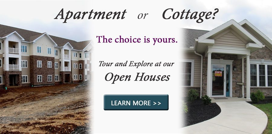 Apartment or Cottage? The choice is yours. Tour and explore at out Open Houses.