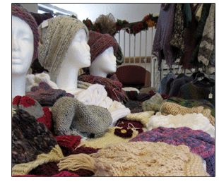 crochet hats, scarves, gloves and ponchos at St. Anne's craft fair