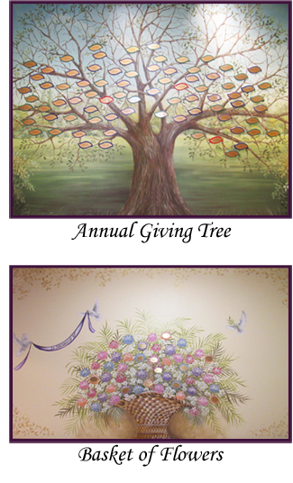 Annual Giving Tree and Basket of Flowers in the lobby of St. Anne's.