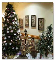 Christmas decorations make the main lobby beautiful in December at St. Anne's.