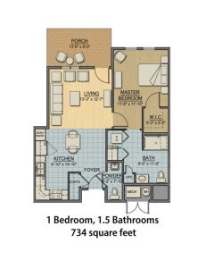 Independent Living Apartment - 1BR and 1.5BA, 734 sq ft