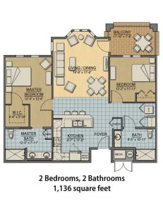 Independent Living Apartment - 2BR and 2BA - 1136 sq ft