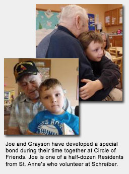 Joe and Grayson have developed a special bond during their time together at Circle of Friends. Joe is one of a half-dozen Residents from St. Anne's who volunteer at Schreiber.