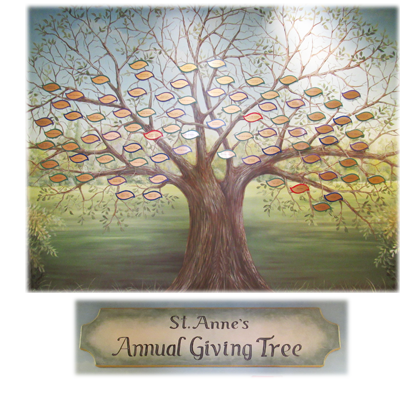 The Annual Giving Tree is one of the first things visitors to St. Anne's view in our lobby.