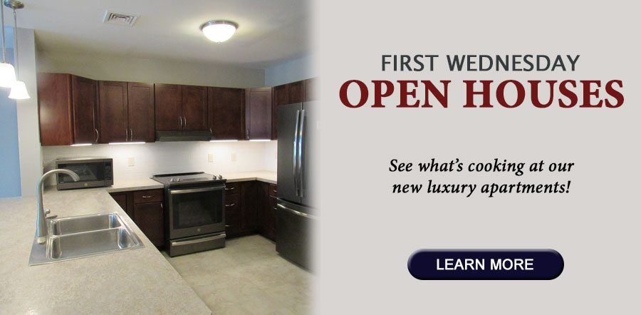 First Wednesday Open Houses. See what cooking at our new luxury apartments.