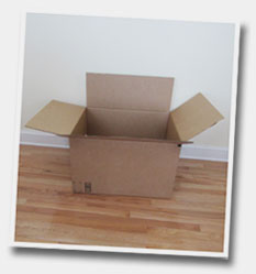 Empty cardboard box for downsizing